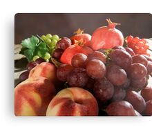 fresh Fruit Basket with grapes, peaches and pomegranate Metal Print