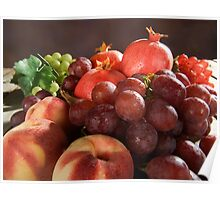fresh Fruit Basket with grapes, peaches and pomegranate Poster