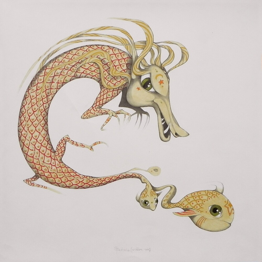 dragon with small fish by federico cortese