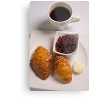 Breakfast with Croissant, jam and butter,  Metal Print