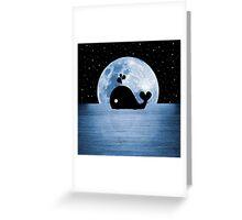 Whale Night Swim - Blue Greeting Card