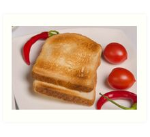 two slices of toast for breakfast  Art Print