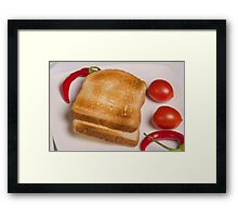 two slices of toast for breakfast  Framed Print
