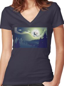 Flying Witch in the Woods Women's Fitted V-Neck T-Shirt