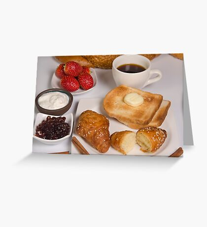 Breakfast with Croissant, toast, jam and butter Greeting Card
