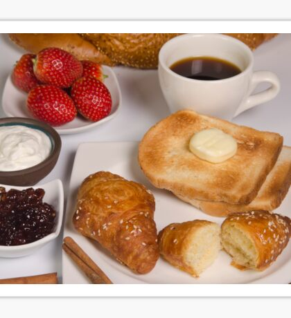 Breakfast with Croissant, toast, jam and butter Sticker