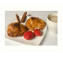 Breakfast with Croissant and strawberries  Art Print