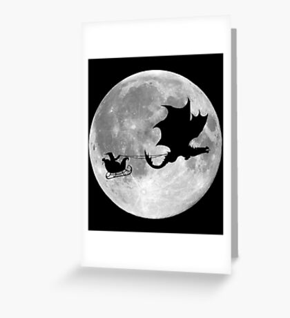 Santa Claus Dragon Rider Sleigh Ride Greeting Card