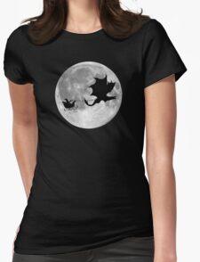 Santa Claus Dragon Rider Sleigh Ride Womens Fitted T-Shirt