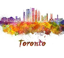 Toronto V2 skyline in watercolor by paulrommer