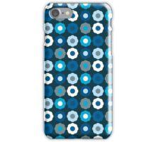 Dark Blue Retro Mod Flowers iPhone Case/Skin