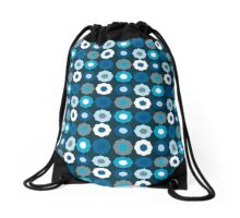 Dark Blue Retro Mod Flowers Drawstring Bag