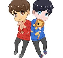 AmazingPhil and Danisnotonfire with Plushes by PhantomAlex