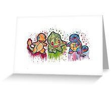 Pokemon Kanto Starters Spraypaint tshirts + more Jonny2may Greeting Card
