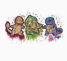 Pokemon Kanto Starters Spraypaint tshirts + more Jonny2may by Jonny2may