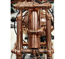Classic vintage Jap motorcylce photograph close up, showing all the copper detail Photographic Print