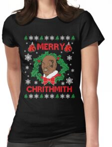 Mike Tyson Merry Chrithmith!!! Womens Fitted T-Shirt