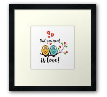 vector love couple owls with hearts  Framed Print