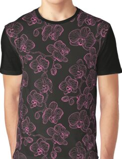 Seamless flower pattern with orchids phalaenopsis background Graphic T-Shirt