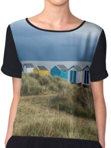 Line of Beach Huts at Southwold Chiffon Top