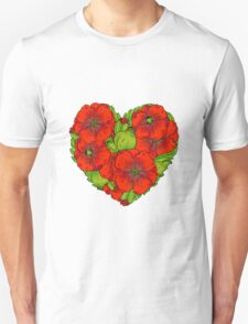 Red poppies flowers heart T-Shirt