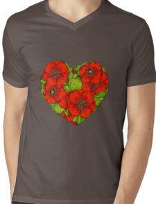 Red poppies flowers heart Mens V-Neck T-Shirt