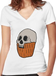Skull in Pumpkin  Women's Fitted V-Neck T-Shirt
