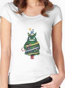 Christmas tree Totoro Women's Fitted Scoop T-Shirt