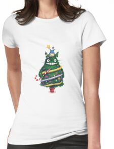 Christmas tree Totoro Womens Fitted T-Shirt