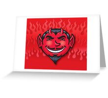 Smiling Devil Face with Flames Background Greeting Card