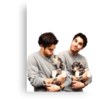 Darren Criss holding a puppy Canvas Print