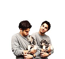 Darren Criss holding a puppy Photographic Print