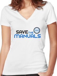 Save The Manuals (3) Women's Fitted V-Neck T-Shirt