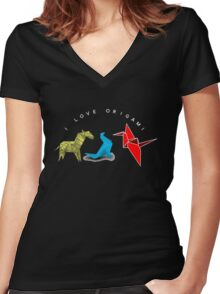 I Love Origami Tshirt Origami zebra seal crane Women's Fitted V-Neck T-Shirt