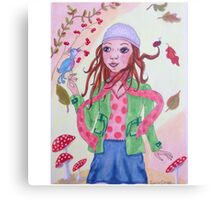 Autumn girl with bird and ladybug Canvas Print