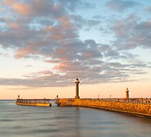 Whitby Pier at Sunset by lenscraft