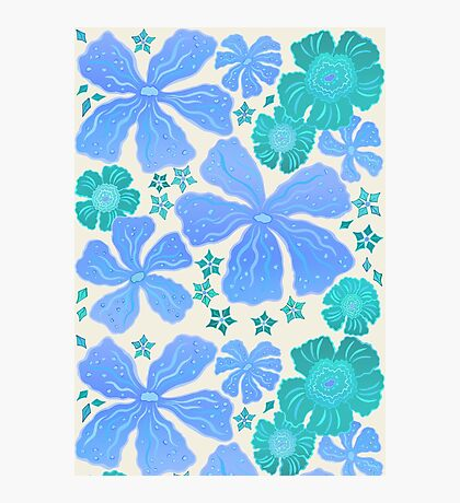 Tropical Floral In Teal Turquoise And Blue Photographic Print