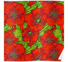 Red poppies flowers pattern Poster