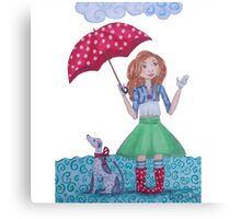 Girl with umbrella and Dog on a rainy day Canvas Print