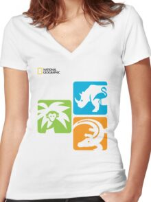 miami zoo Women's Fitted V-Neck T-Shirt