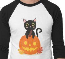 Halloween Black Cat Men's Baseball ¾ T-Shirt