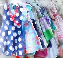 Girl's Dresses at Street Fair by Susan Savad