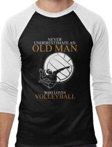 Never Underestimate An Old Man Volleyball Gift For Daddy Or Husband Men's Baseball ¾ T-Shirt