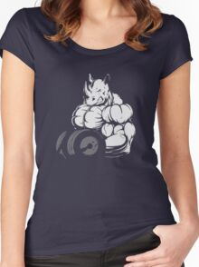 Rhino Bodybuilder Funny Women's Fitted Scoop T-Shirt