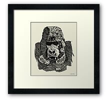 Gorilla Pen and Ink Drawing Framed Print