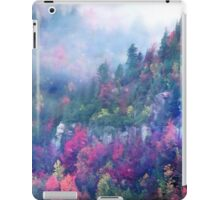 Fog over a colorful fall mountain fores iPad Case/Skin