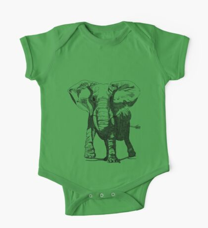 Elephant Pen and Ink Drawing One Piece - Short Sleeve