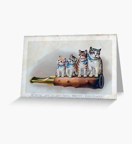 Cute Victorian Christmas Card with Kittens Greeting Card