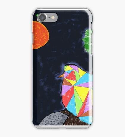 Bird flying in space iPhone Case/Skin