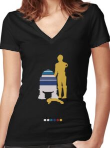 Androids (White Background) Women's Fitted V-Neck T-Shirt